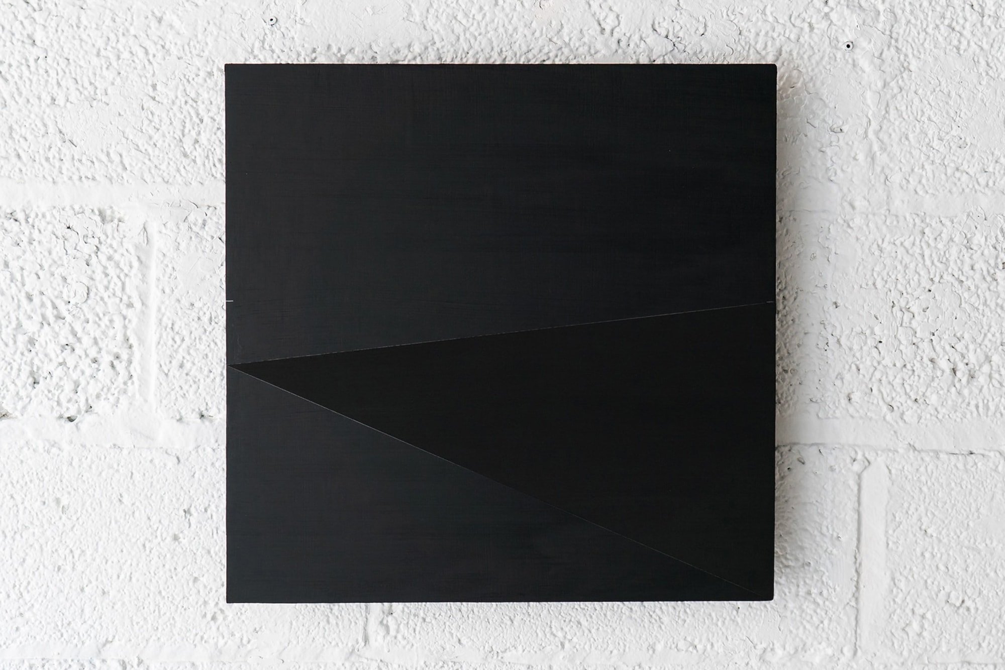 Randy Gibson: Rational Wedge 81:64 (Black) | 2017 | Gesso, Acrylic, Natural Indigo, and Graphite on Shaped MDF | 48cm x 49cm x 2″