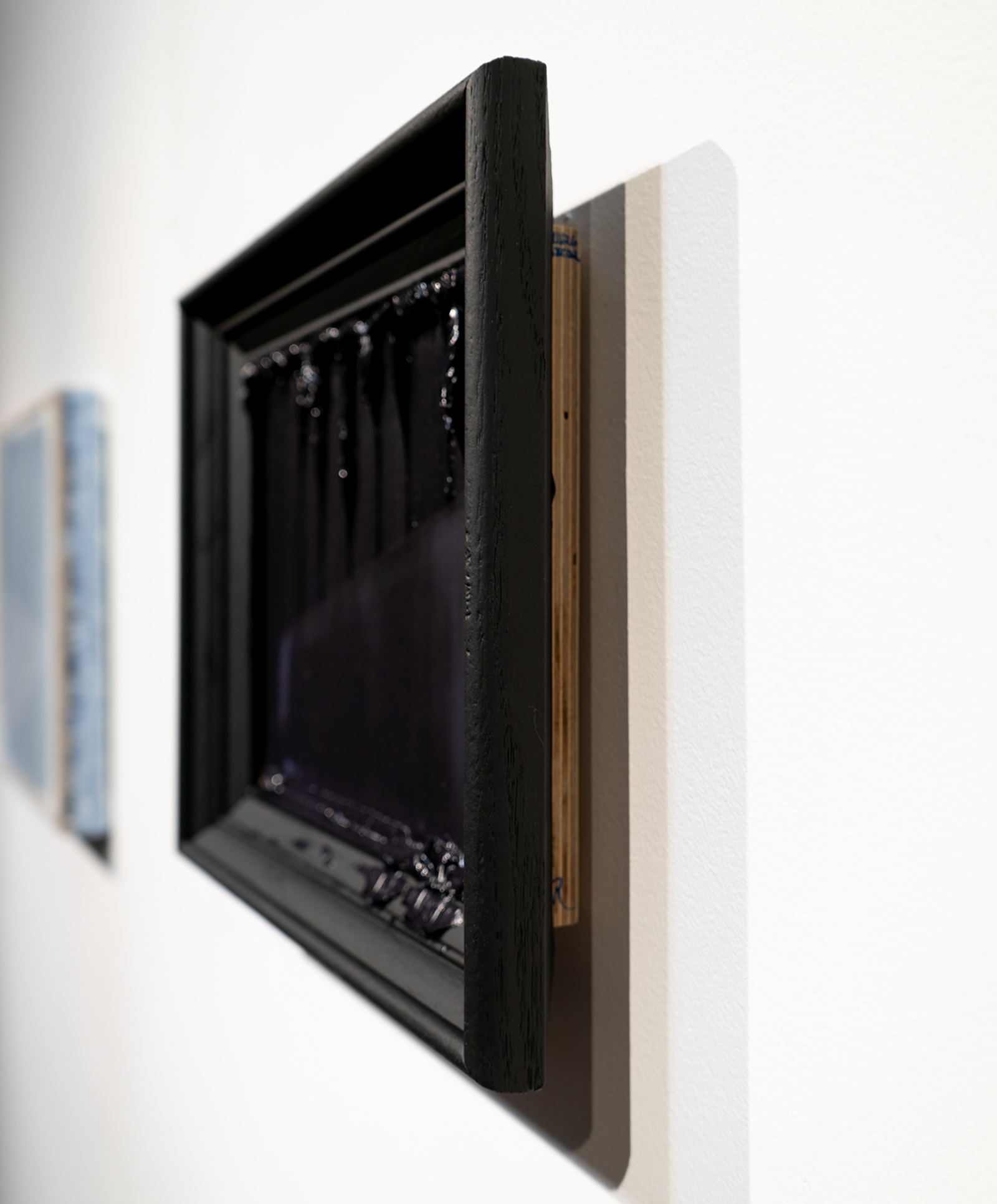 Randy Gibson | Rational Wedge 9:4 (Found) | 2018 | 32x27x6.5 cm | Oil on Plywood in Found Frame, Spraypaint
