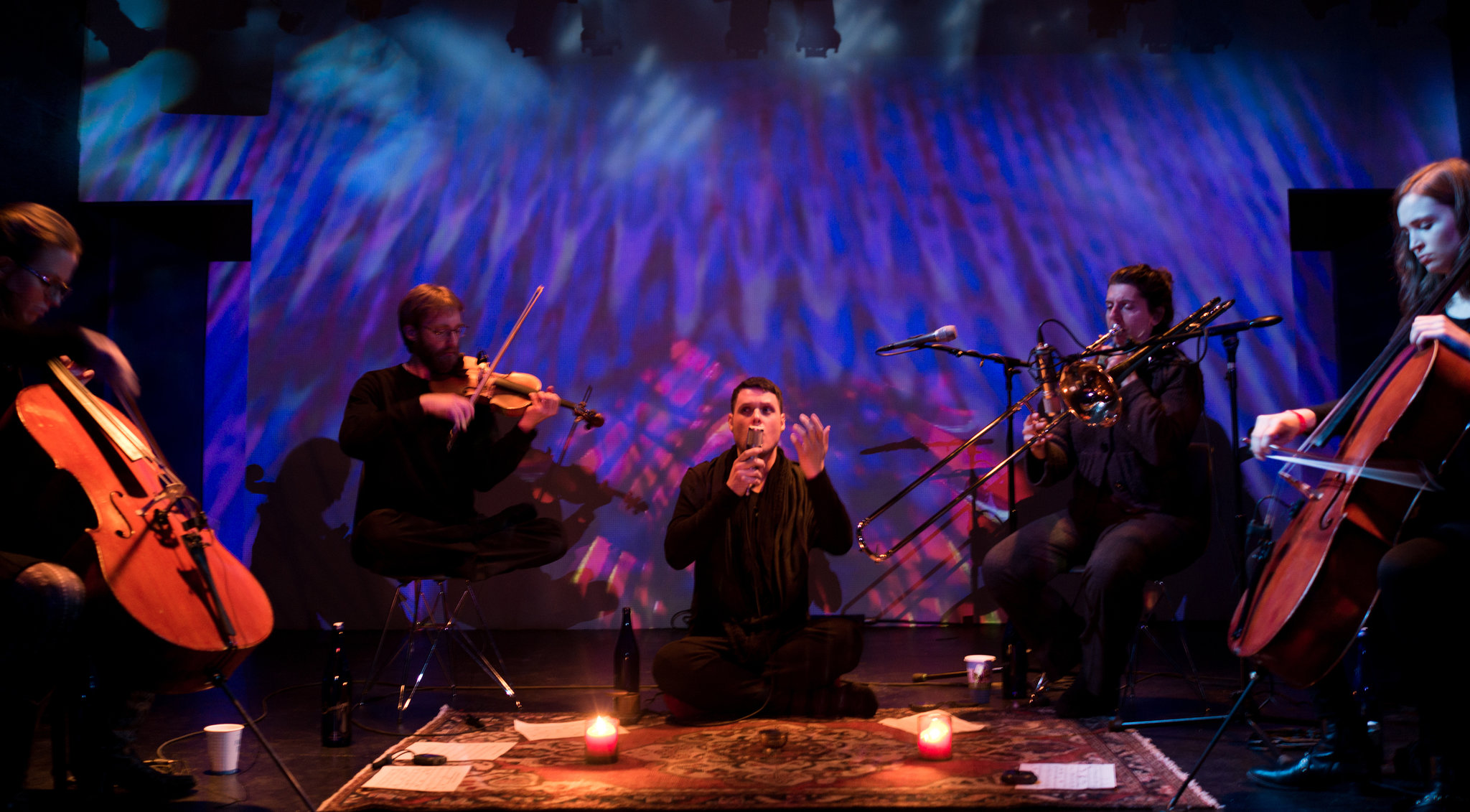 Randy Gibson, center, and his ensemble performing ″Apparitions of the Four Pillars in The Midwinter Starfield Under The Astral 789 Duet″ at Wild Project