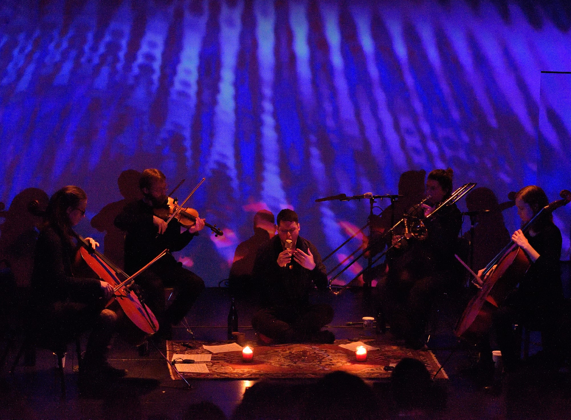 Randy Gibson and Ensemble performing Gibson's <em>Apparitions of The Four Pillars in The Midwinter Starfield under The Astral 789 Duet</em> at the 2015 Avant Music Festival