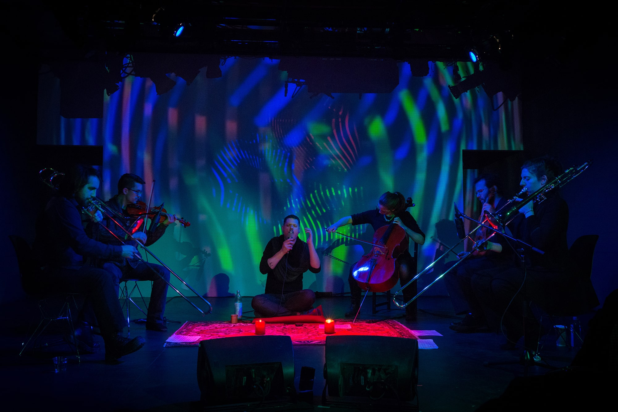 Randy Gibson and Ensemble performing Gibson's <em>Apparitions of The Four Pillars in The Midwinter Starfield under The Astral 789 Duet</em> at the 2014 Avant Music Festival