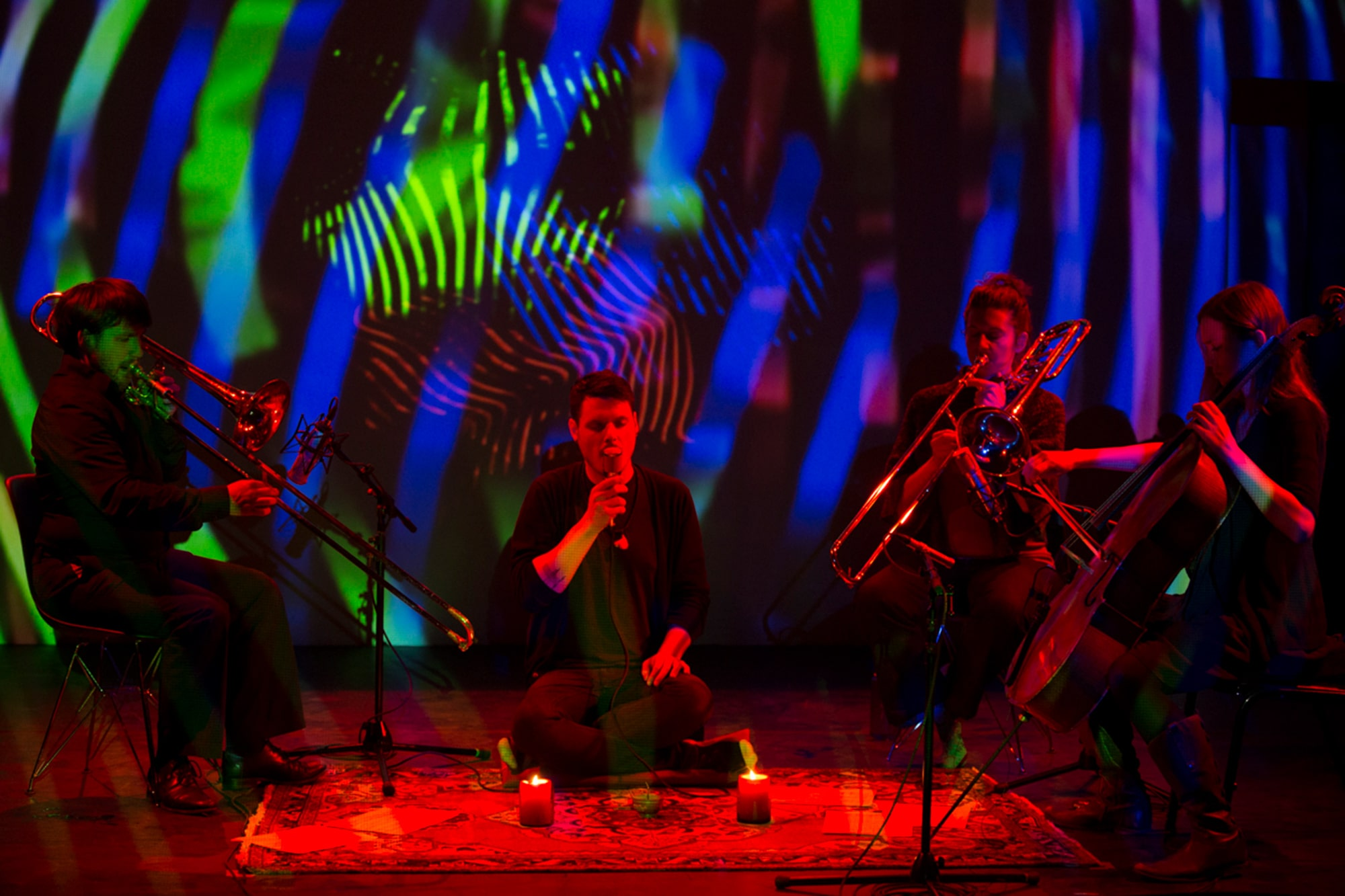 Randy Gibson and Ensemble performing Gibson's <em>Apparitions of The Four Pillars in The Midwinter Starfield under The Astral 789 Duet</em> at the 2013 Avant Music Festival