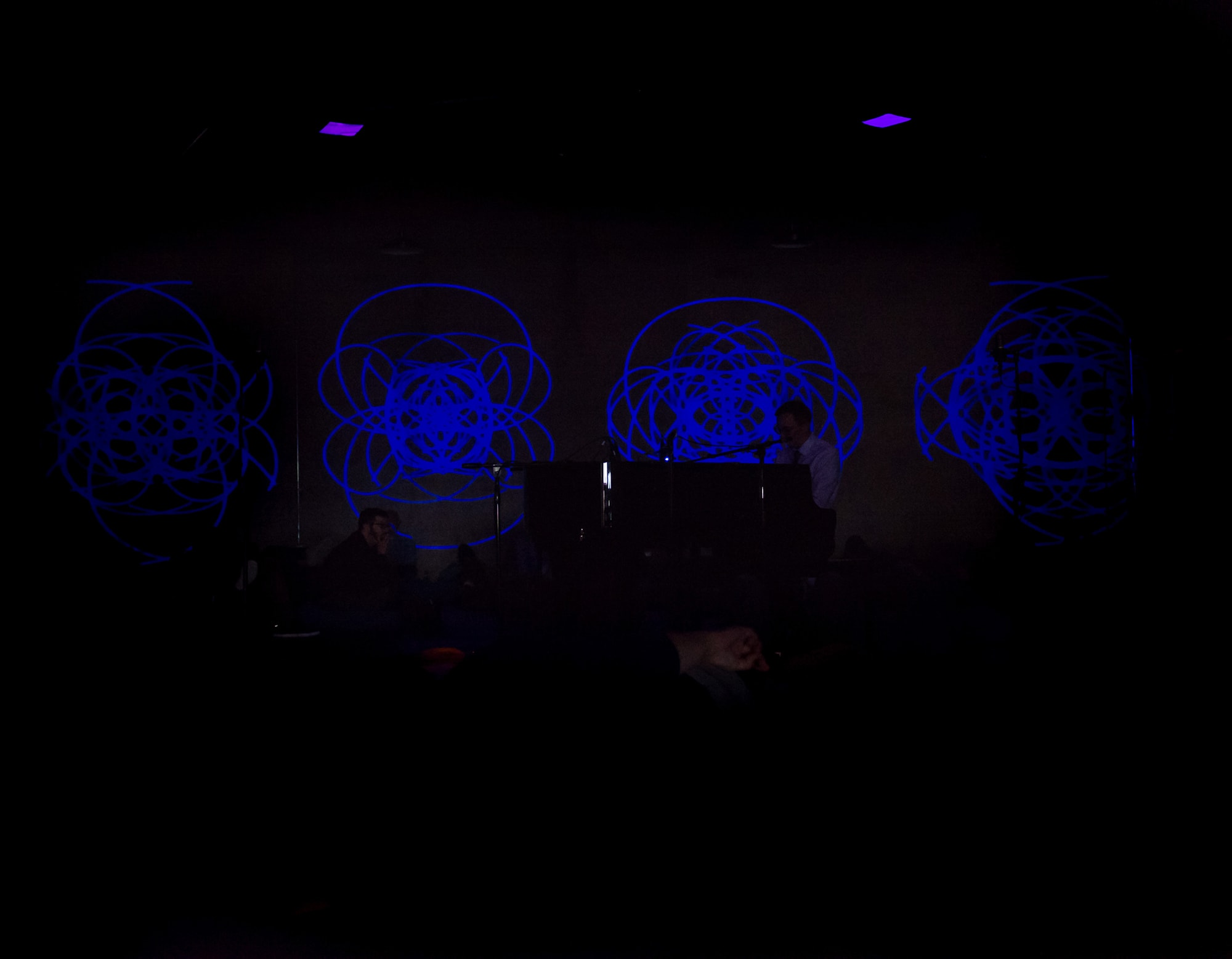 R. Andrew Lee performing Randy Gibson's <em>The Four Pillars Appearing from The Equal D under Resonating Apparitions of The Eternal Process in The Midwinter Starfield</em> in a setting of <em>Quadrilateral Starfield Symmetry Tx4 Base 7:144</em> at the Nief Norf Summer Festival, 2017