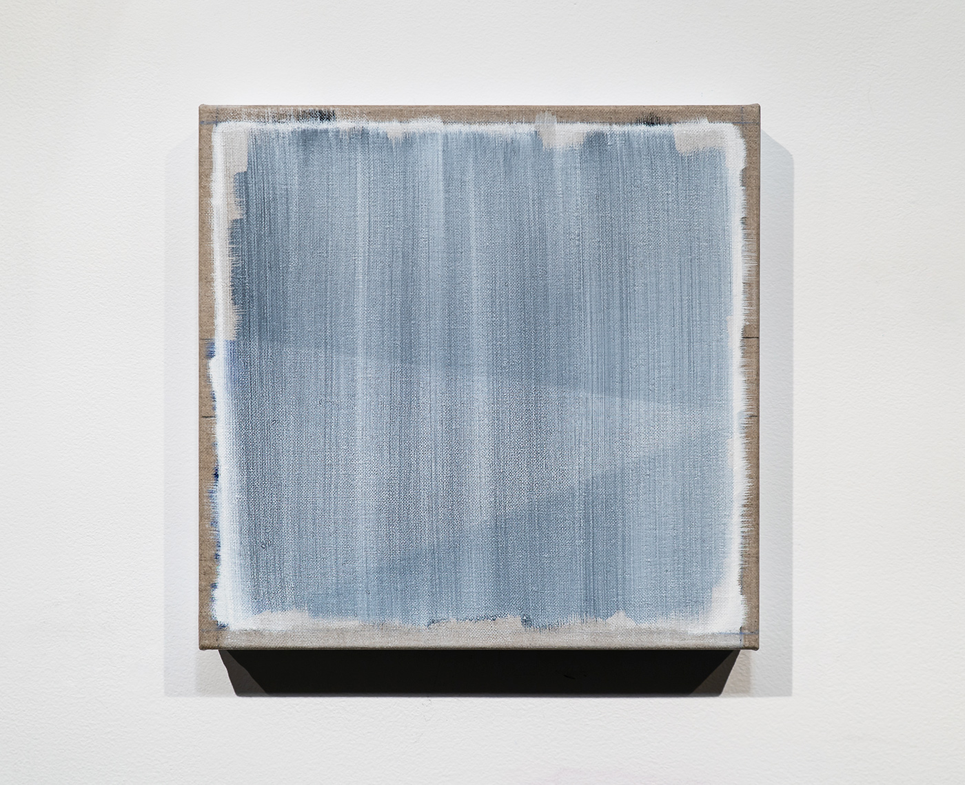 """Randy Gibson: Rational Wedge 21:28 (White) - 13.5""""x14"""" - Oil, Chalk, Graphite, and Acrylic Dispersion on Linen - 2018"""