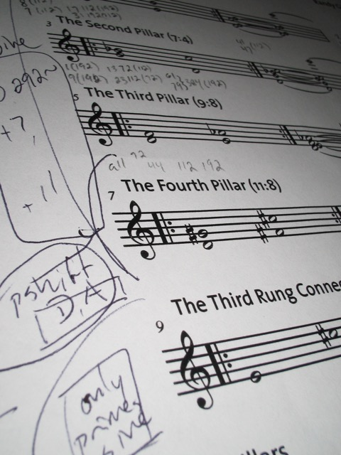 An early score image of Randy Gibson's <em>Apparitions of The Four Pillars</em>