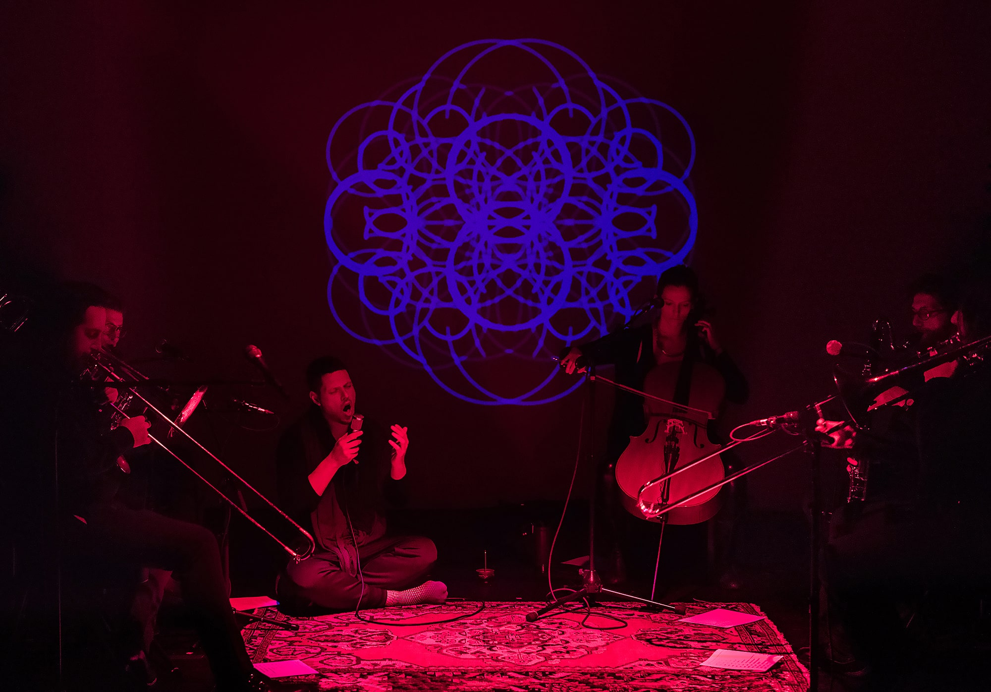 Randy Gibson and ensemble performing *Apparitions of The Four Pillars in The Midwinter Starfield Symmetry under The 72:81:88 Confluence* at the 2016 Avant Music Festival