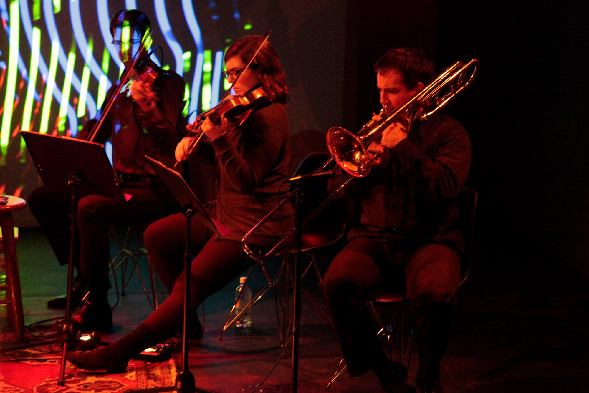 The Ensemble performing Randy Gibson's <em>Apparitions of The Four Pillars with Their Lowest Additive Primes as limited to the 3rd, 7th, 9th, and 11th New Primes chosen Cyclically, The Toll of Premonition, The Memorial Connector over the Outlying Primal Abyss, and The Mid-Winter Ending</em> at the 2011 Avant Music Festival