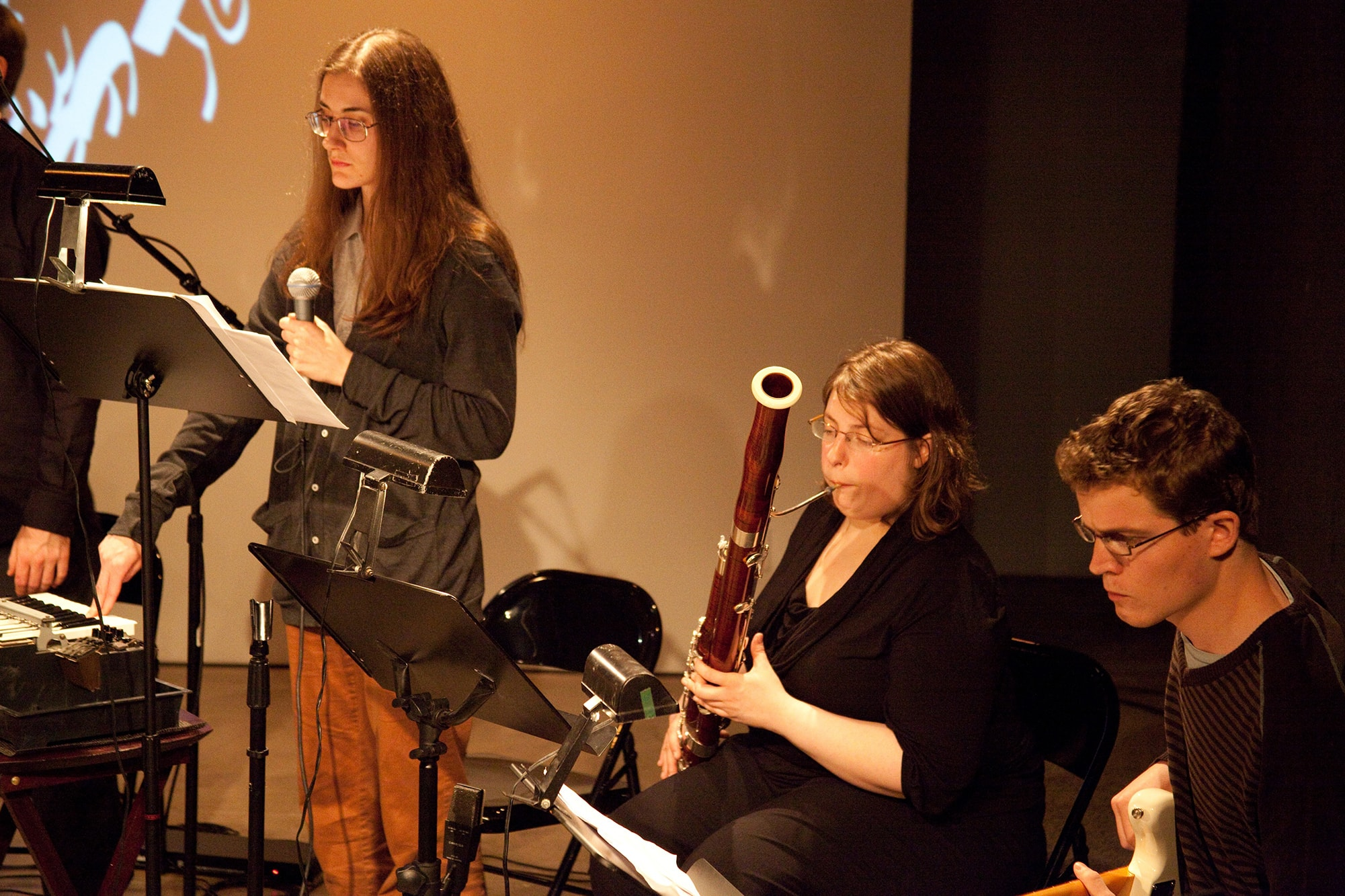 Megan Schubert, Annie Lyle, and Kobe Van Cauwenberghe performing Randy Gibson's <em>Doleo Æternus</em>
