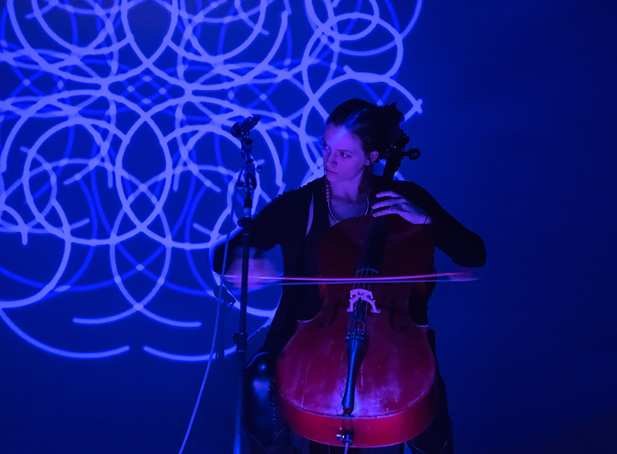 Meaghan Burke performing Randy Gibson's <em>Apparitions of The Four Pillars in The Midwinter Starfield Symmetry under The 72:81:88 Confluence</em> in a setting of <em>Quadrilateral Starfield Symmetry A:L Base 11:273 in The 181 Profusion</em>